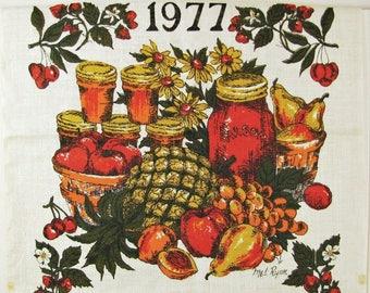 Vintage NOS Tea Towel Autumn Harvest Towel 1977 Calendar Towel Farm Towel Apple Towel Apple Kitchen Country Towel Country Chic Towel