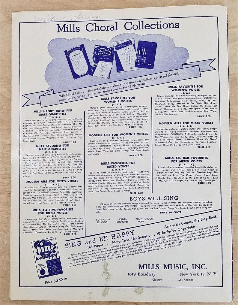 Vintage Sheet Music Song Book Barber Shop Harmony Music Barber Shop Quartet  Music 1950's Music Men's Quartet Mills Music Broadway