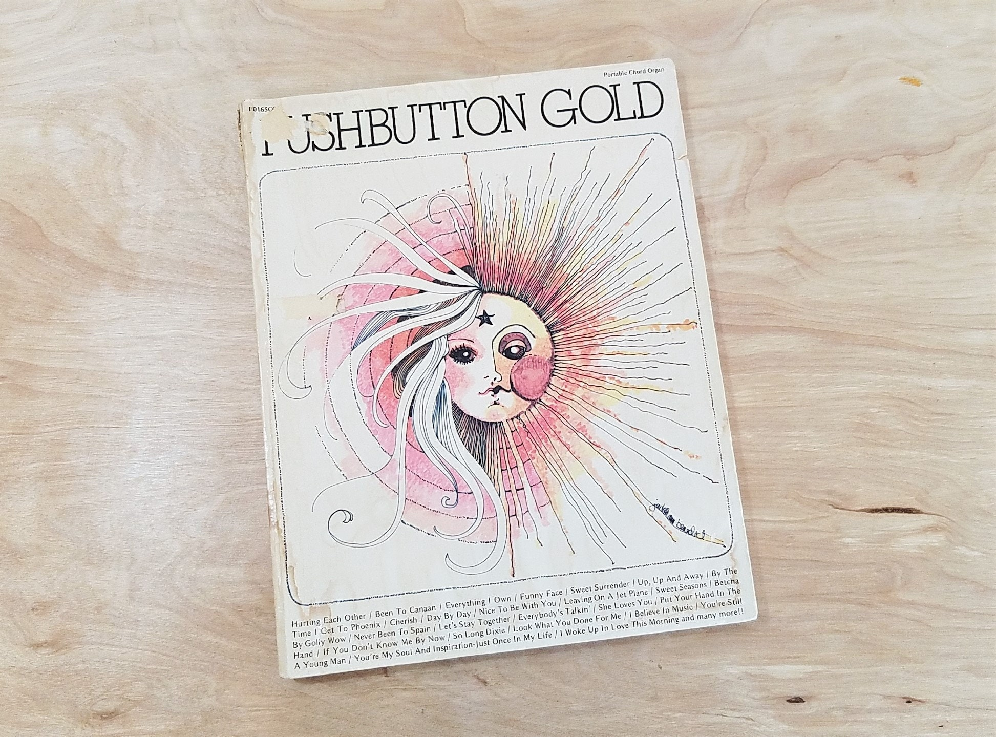 Vintage 1970's Music Book Pushbutton Gold Song Book 1970's Song Book 1970's  Sheet Music 1970's Hits Sing Along Carole King David Gates