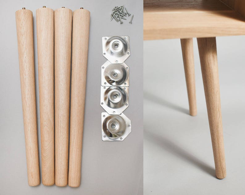4 X Tapered Legs In Solid Oak Furniture Leg Coffee Table Etsy