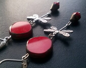 Gorgeous red picasso glass earrings, dragonflies