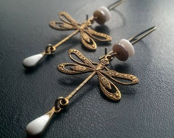 dragonflies perforated, drop white cream enamel, picasso glass bead