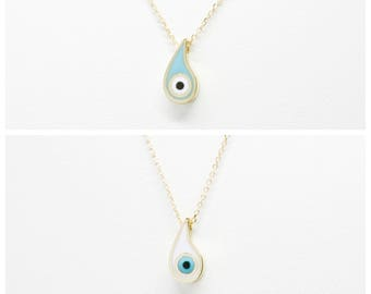Greek Evil Eye Necklace Paisley Design Pendant. 14K Yellow Solid Gold. White or Light Blue Green Enamel. Good Luck and Protection Charm