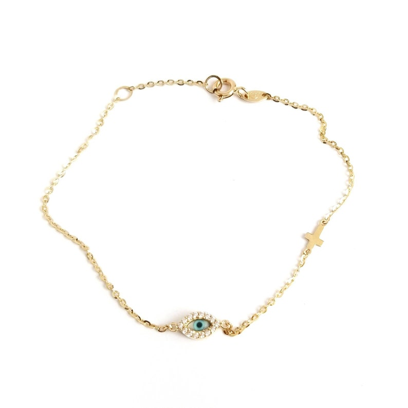Greek Evil Eye Mother of Pearls /& Zirconia Cross Chain Bracelet.14K Yellow Solid Gold.White Cubic Zirconia.Good Luck and Protection Jewelry.