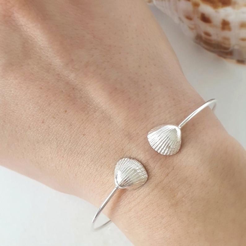 Seashell Silver Open Cuff Bracelet 925 Sterling Silver. Summer Bracelet Beautiful Details Seashell Charm