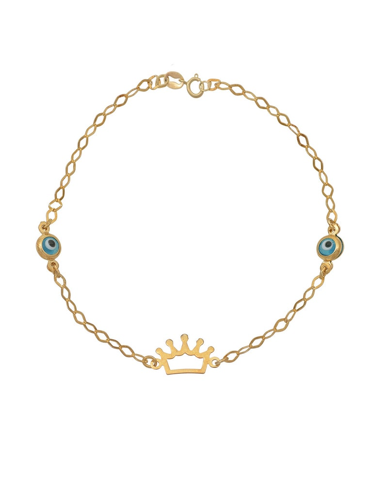 9K Yellow Solid Gold Good Luck and Protection Jewelry. 9K Double Greek Evil Eye Princess Crown Charms in Chain Bracelet