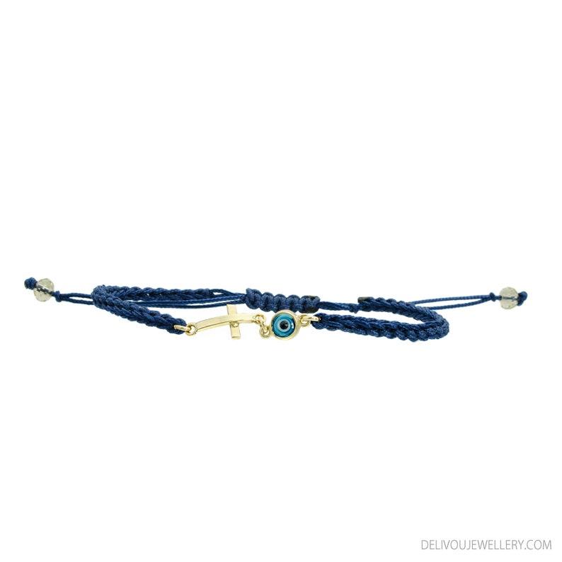 14K Gold Greek Evil Eye Cross Charm  Bracelet.14K Yellow Solid Gold.Blue Greek Eye.Navy Blue Protection /& Good Luck Macrame Bracelet.
