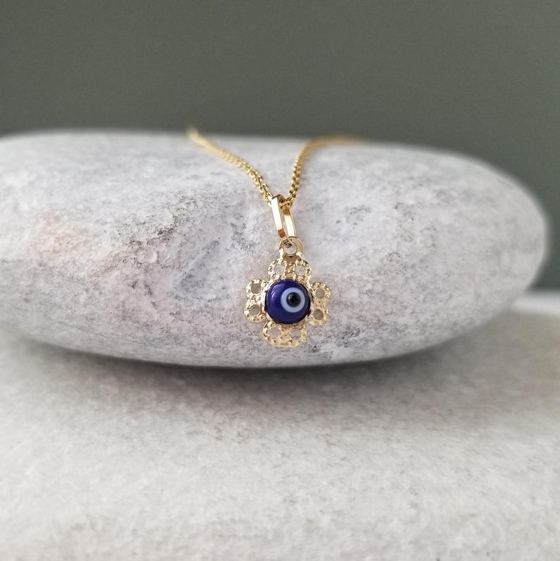 9K Tiny Gold Flower Greek Evil Eye pendant.9K Solid Yellow Gold.Dark Blue Evil Eye.Good luck and Protection charm