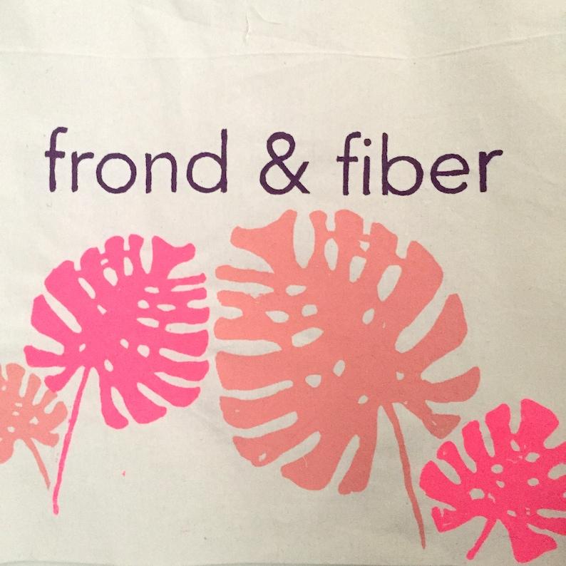 SpringSummer18 Frond /& Fiber Tote Bag Screenprinted canvas tote bag philodendron frond
