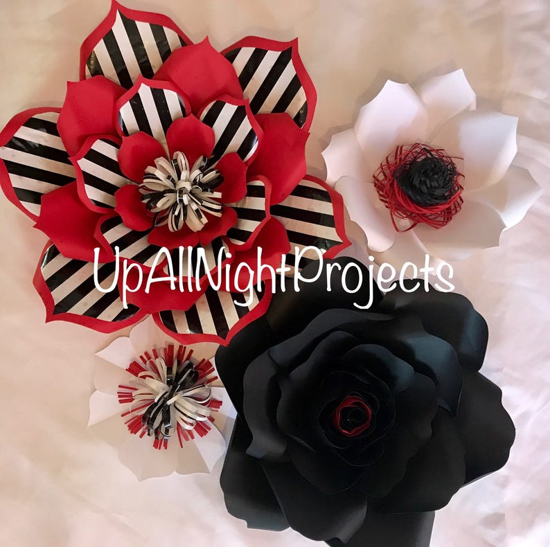Red Back White Paper Flower Wall Decor Giant Paper Flowers Party Flowers Paper Flower Backdrop Wedding Backdrop Wedding Centerpiece