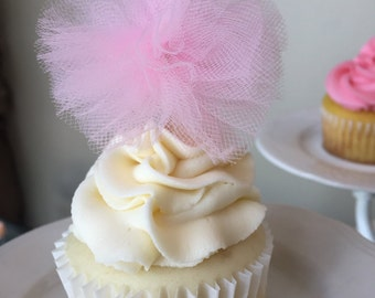 Cake Toppers, Tutu toppers, Party Decor, Cupcake toppers, Cake tulle toppers, Tulle toppers, Cake pompom, Cupcake pompom, Wedding decor,