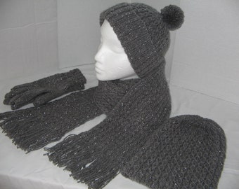 fd9003674ebed Ladies Hand Knitted Scarf  Hat Gloves set knitted in Grey Sparkle double  knit