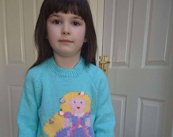 Hand knitted girls Rapunzel jumper