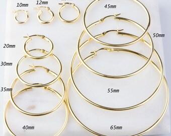 Large Hoop Earrings 4 Inch Silver Or Gold Plated Hoop Earrings Thick