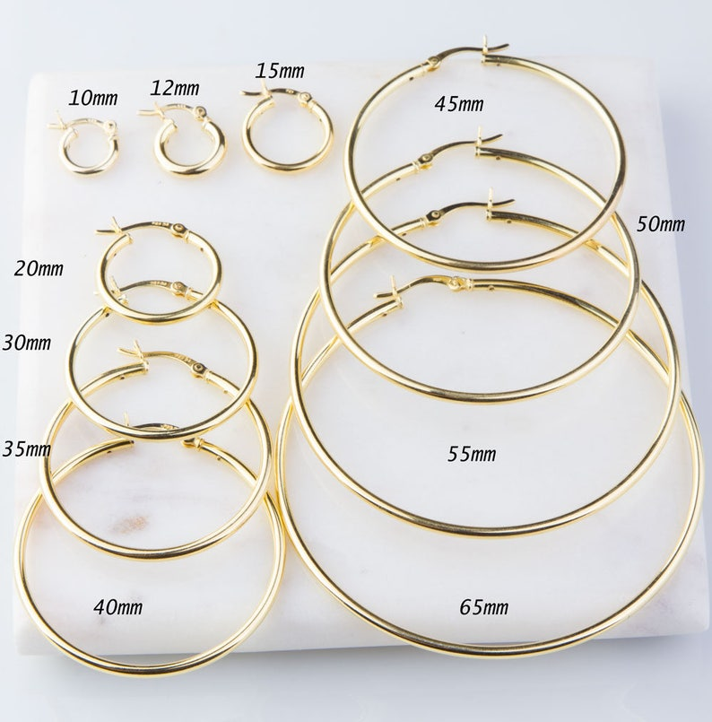 64525dcd4c81e Heavy Gold Plated over Sterling Silver Hoop Earring Finding, 2mm Thick  Tube, Available in Different Sizes, Small or Large Hoops GFER158