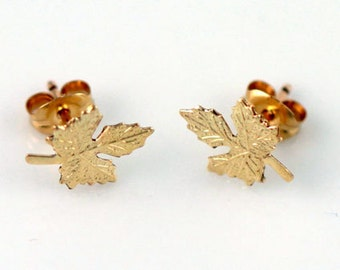 Gold Filled, Sterling Silver Maple Leaf Earrings, Nature, Gold Nature Earrings, Fall Leaves Earrings, Simple, Dainty Gold Studs, GFER09