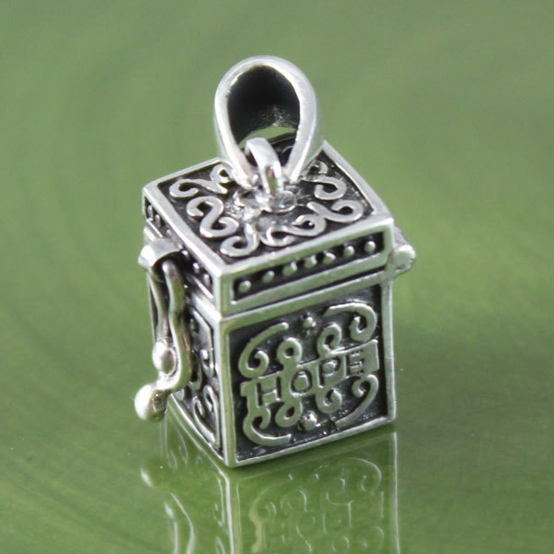96481aea392c8f Sterling Silver HOPE Prayer Box Charm Pendant Square Prayer | Etsy