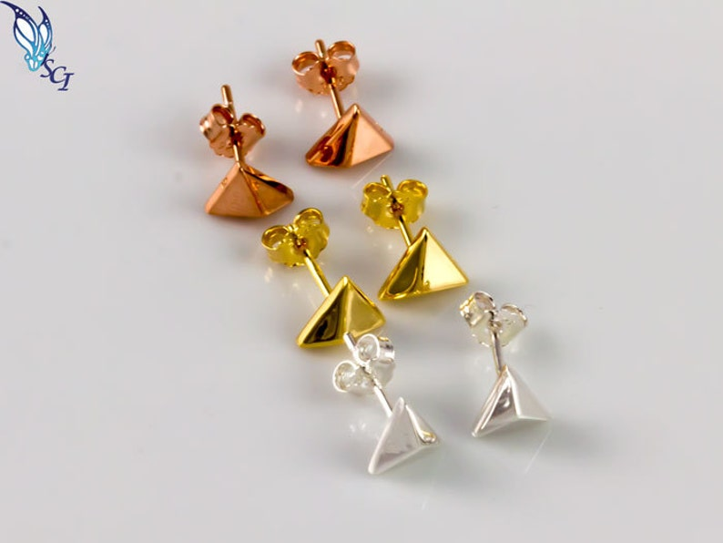 66a0bf07f Pyramid Stud Earrings Sterling Silver Gold Plated Rose Gold   Etsy