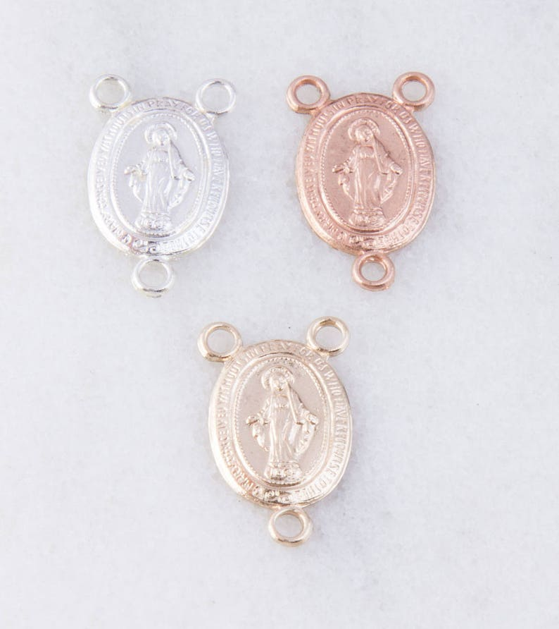 5 Pcs-Small Miraculous Medal Virgin Mary Rosary Center in Sterling Silver Catholic Charms CM135R Gold Fill or Rose Gold Fill,Rosary Parts