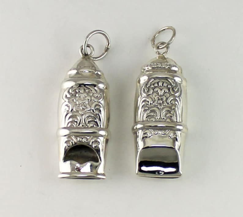 Sterling Silver Antique Victorian Style Whistle Pendant image 0