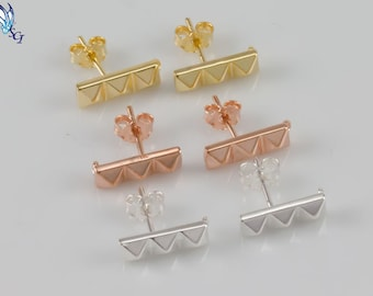 Three Pyramid Stud Earrings, Sterling Silver, Gold Plated,Rose Gold Plated,Post, Dainty Bar Studs, Geometric, Minimalist Studs, SER304