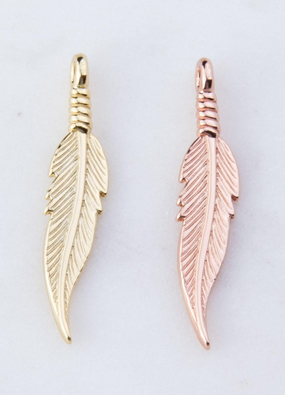 Gold Plated Feathers Pendant Charms
