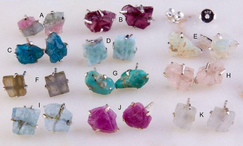44be1e2fa52c3 Gemstone Raw Rock Studs Earrings, Earring Findings, Semi Precious Stone,  Post Earring, Sterling Silver, Simple, Daily Wear, 2nd Hole-GFER181