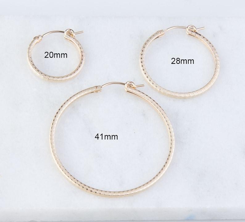 GFER210 Small Gold Filled Hoops Dainty Statement Hoop Earrings Matte Finish Gold Filled Textured Design Hoop Earrings Everyday Wear
