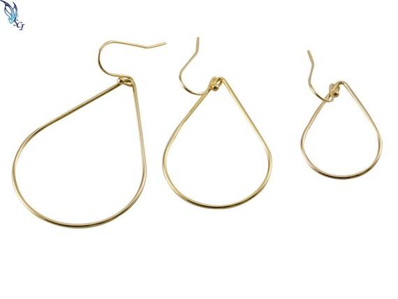 10 Plain 27mm Teardrop Shaped Hoop Wire Earring Findings Plated Brass Metal