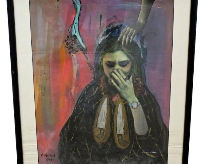 Vintage Modern Abstract Oil Painting of Woman Crying 'Sorrow' by R. Macleod