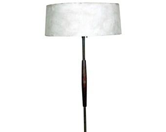 Mid-Century Danish Modern Gerald Thurston Lightolier Brass Teak Floor Lamp