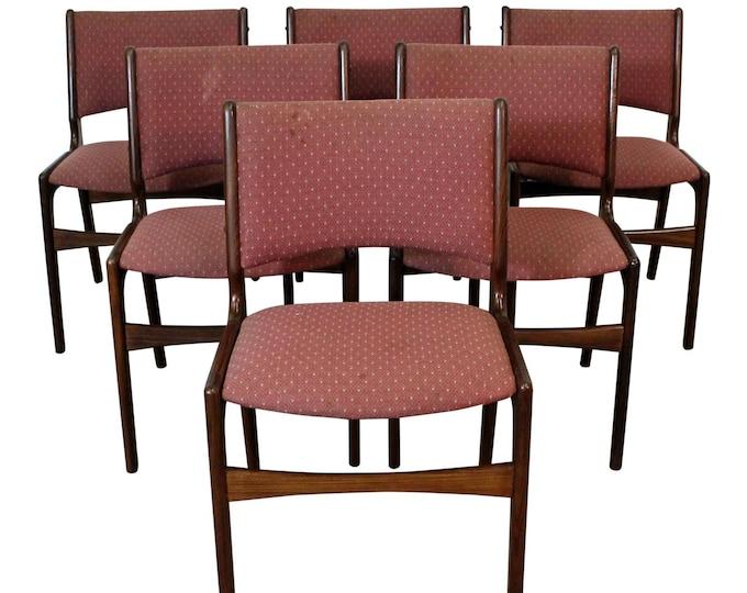 Mid-Century Dining Chairs, Danish Modern, Henning Kjaernulf, Teak Dining Chairs, Side Chairs