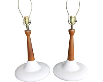 Pair of Mid-Century Danish Modern Atomic Walnut Pottery Table Lamps