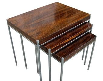 Mid-Century Modern Nesting Tables, Rosewood & Chrome, Danish Modern, Set of 3