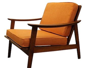 Mid-Century Lounge Chair Danish Modern in Orange with Walnut