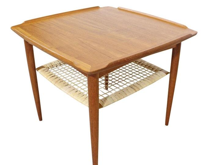Poul Jensen Selig Mid-Century Danish Modern Teak Caned Square Coffee/Side Table
