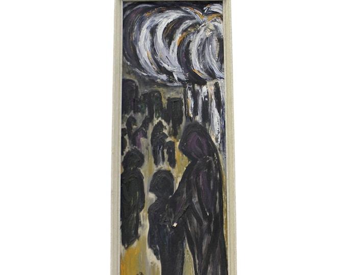 Vintage Modern Abstract Art Dark Figures by C. Dengler Oil Painting on Canvas