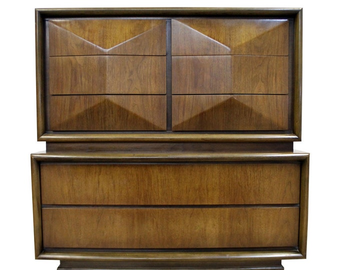 Mid-Century Modern United Diamond Front  Walnut Tall Chest of Drawers/Dresser