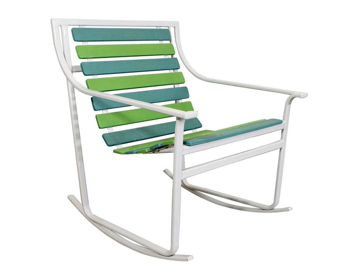 Vintage Mid-Century Modern Samsonite Outdoor Patio Tubular Steel Rocking Lounge Chair Rocker