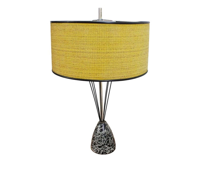 Mid-Century Modern Lamp Caged Wire Base Drum Shade Painted Table Lamp, Vintage Lamp