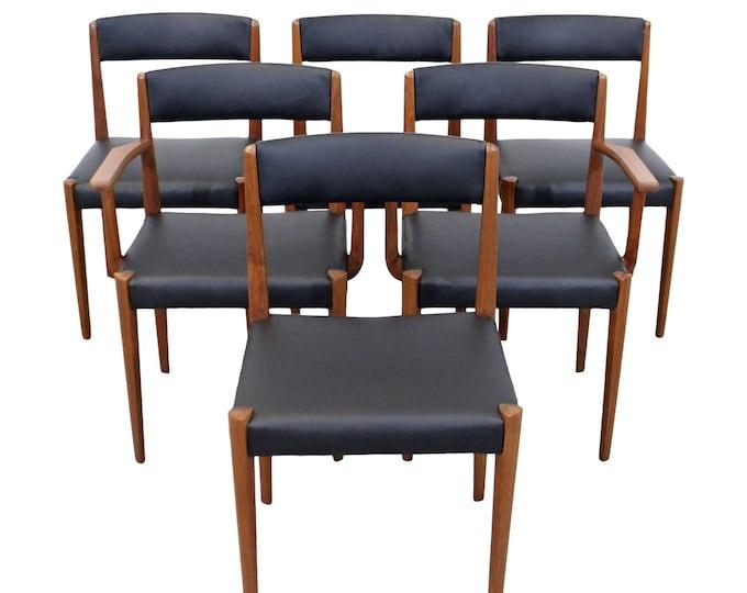 Vintage Mid-Century Danish Modern Povl Dinesen Rare Teak Dining Chairs - Set of 6