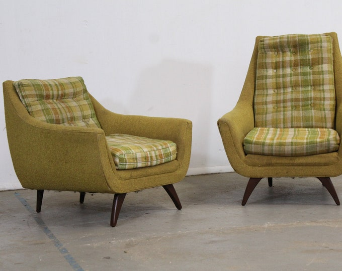 Mid-Century Modern Adrian Pearsall Style His & Her Lounge Chairs by Bassett Arm Chairs
