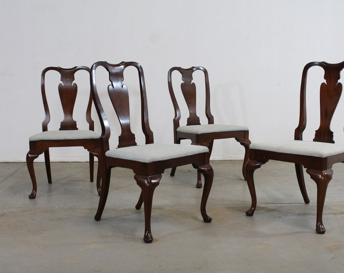 Set of 4 Reproduction Queen Anne Solid Mahogany Dining Side Chairs