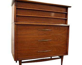 Mid-Century Modern Kent Coffey The Foreteller Walnut Tall Chest Dresser