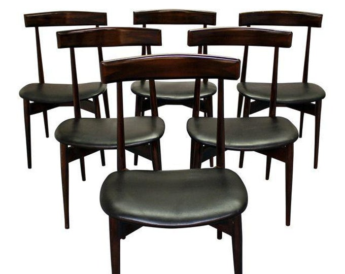 Mid-Century Dining Chairs Danish Modern Walnut Floating Seat Side Chairs-Set of 6