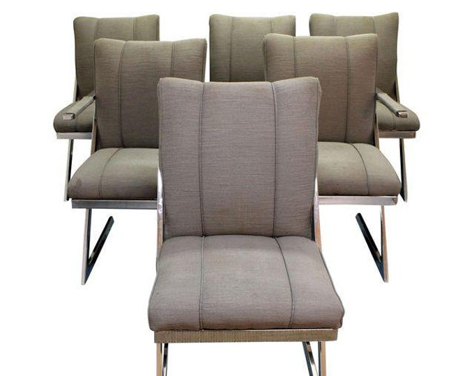 Mid-Century Dining Chairs Modern Milo Baughman Z-Bar Cantilever Dining Chairs-Set of 6