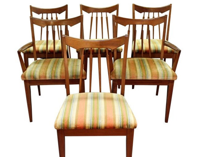 Mid-Century Dining Chairs Set of 6 Spindle Back, Walnut