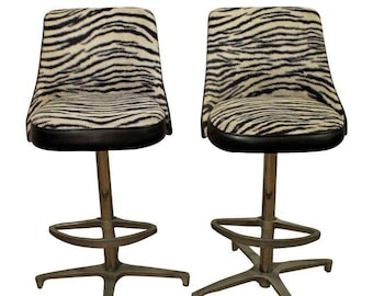 Mid-Century Bar Stools Danish Modern Chromcraft Zebra Print Swivel Bar Stools #3-PAIR