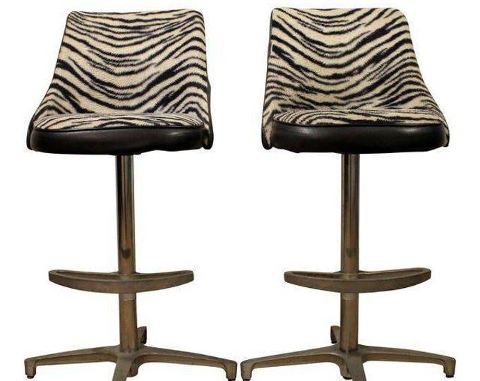 Mid Century Bar Stools Danish Modern Chromcraft Zebra Print Swivel Bar Stools #1