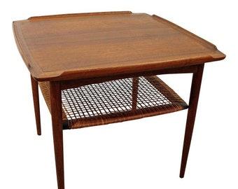 Mid-Century Danish Modern Poul Jensen Selig Teak Rattan End Table